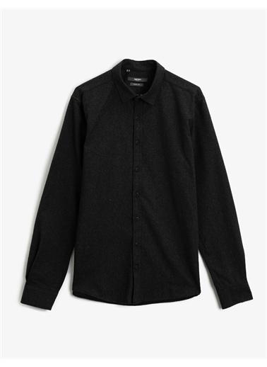 Koton Klasik Yaka Pamuklu Uzun Kollu Gömlek Siyah